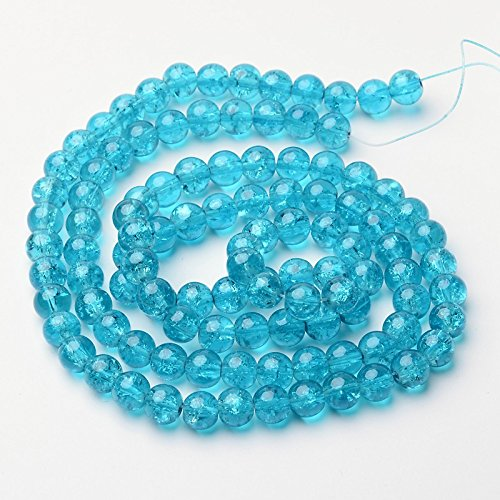 70 Grams (Apprx 100 PC) Deep Sky Blue Round Crackle Glass Beads, 8mm(5/16  Inch)